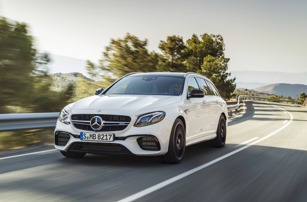 This undated photo released by car manufacturer Daimler AG shows a Mercedes-AMG E 63 S 4Matic + T-Modell car. The car will be shown at ...