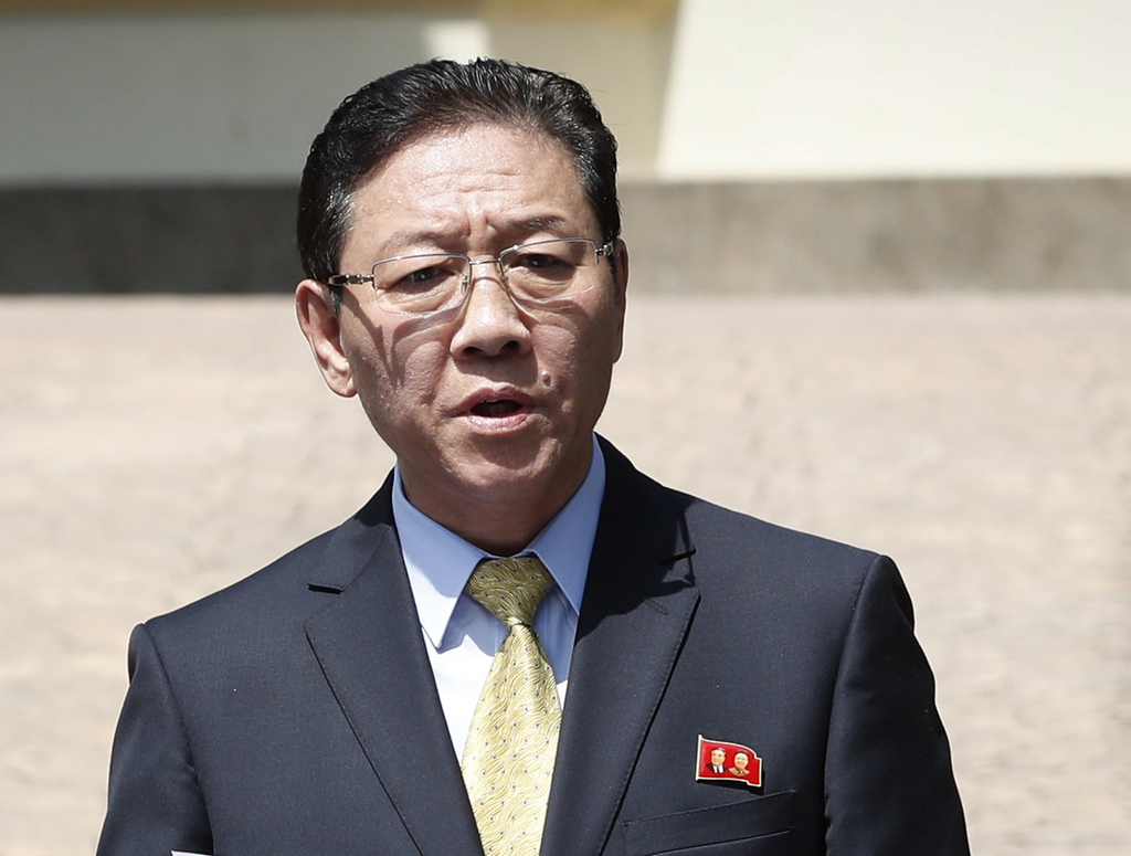 FILE - In this Feb. 20, 2017 file photo, North Korea's Ambassador to Malaysia Kang Chol speaks to the media outside the North Korean Em...