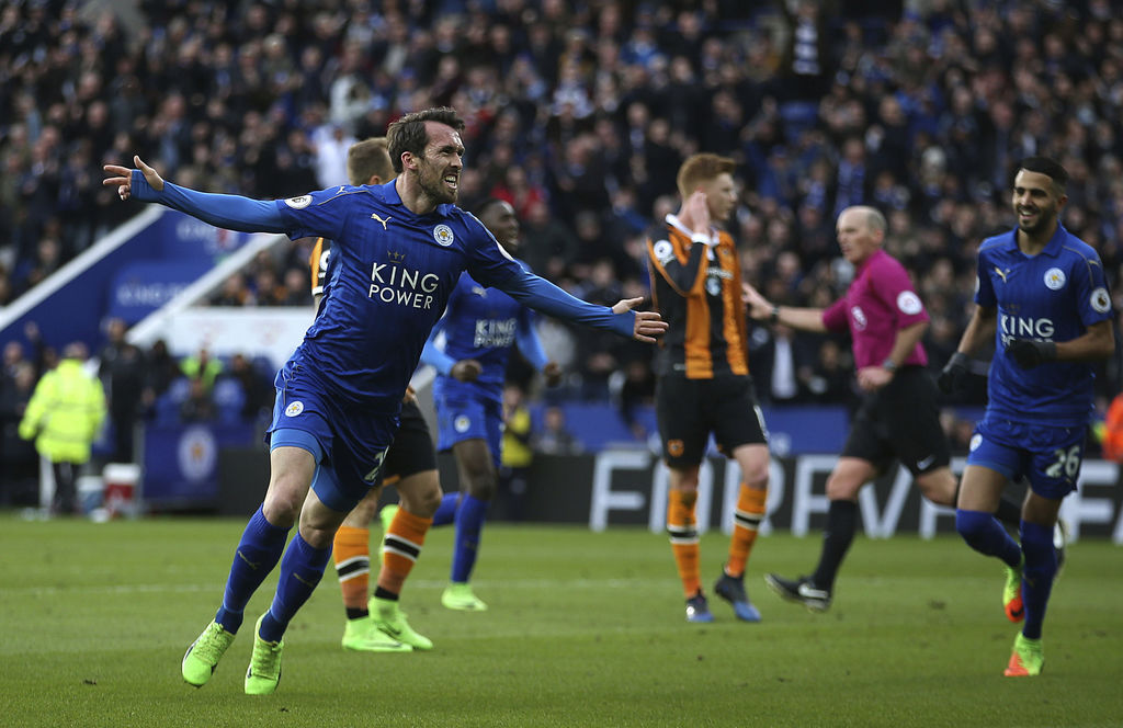 Leicester City's Christian Fuchs celebrates scoring his side's first goal of the game during their English Premier League match against...