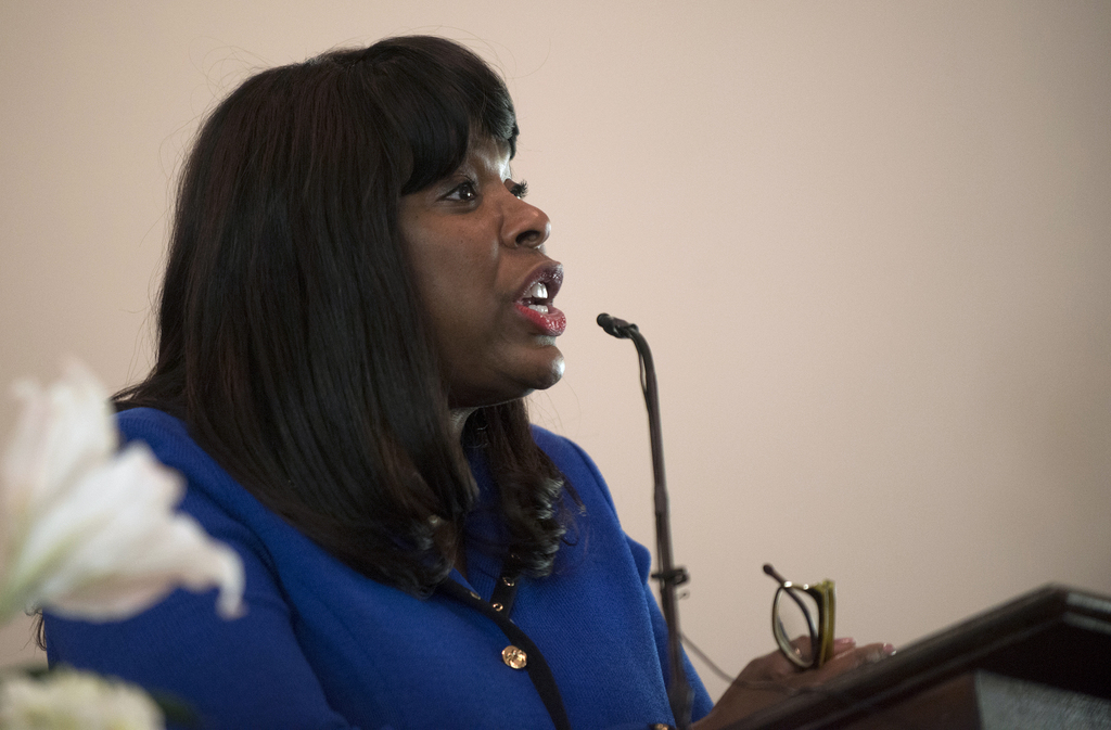 Congresswoman Terri Sewell speaks during a service at Brown Chapel African Methodist Episcopal Church in Selma, Ala., Sunday, March 5, ...