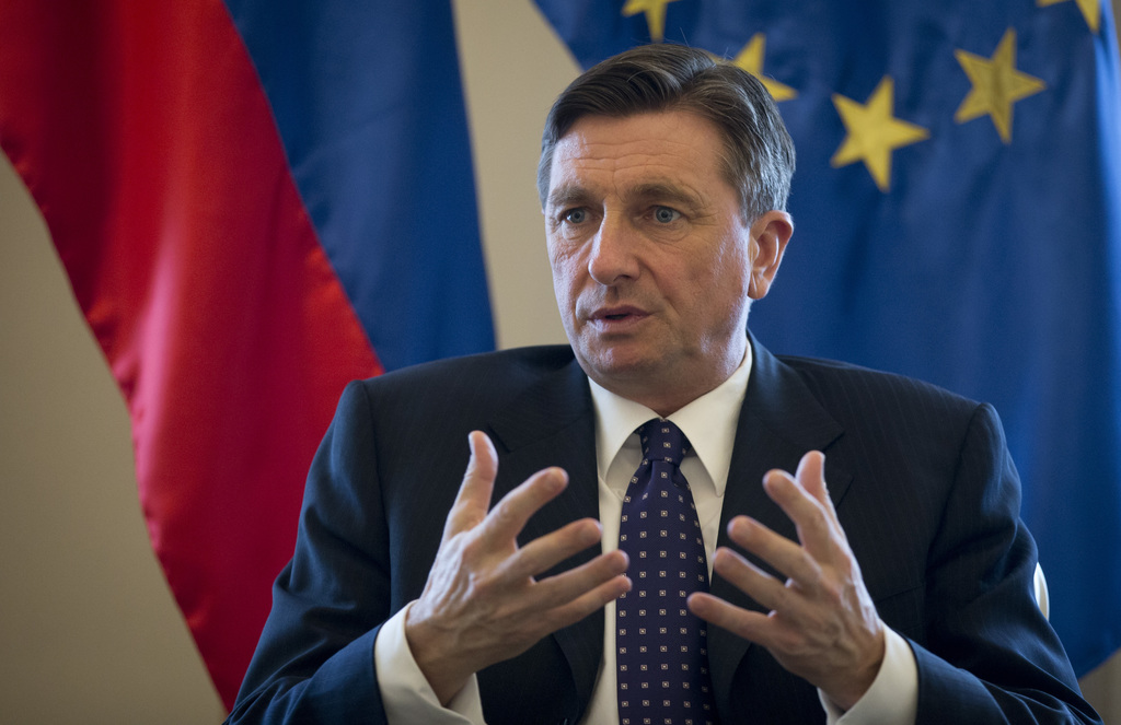 Slovenia's president Borut Pahor gestures during an interview with the Associated Press in Ljubljana, Slovenia, Monday, March 6, 2017. ...