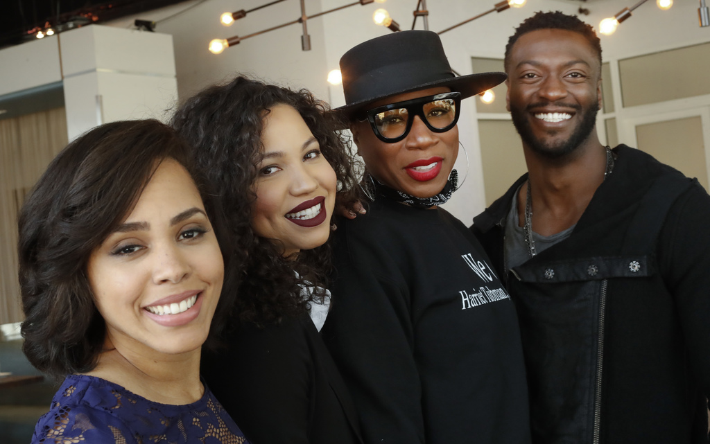 """This Feb. 2, 2017 photo shows cast members from the TV series, """"Underground,"""" from left, Amirah Vann, Jurnee Smollett-Bell, Aisha Hinds..."""
