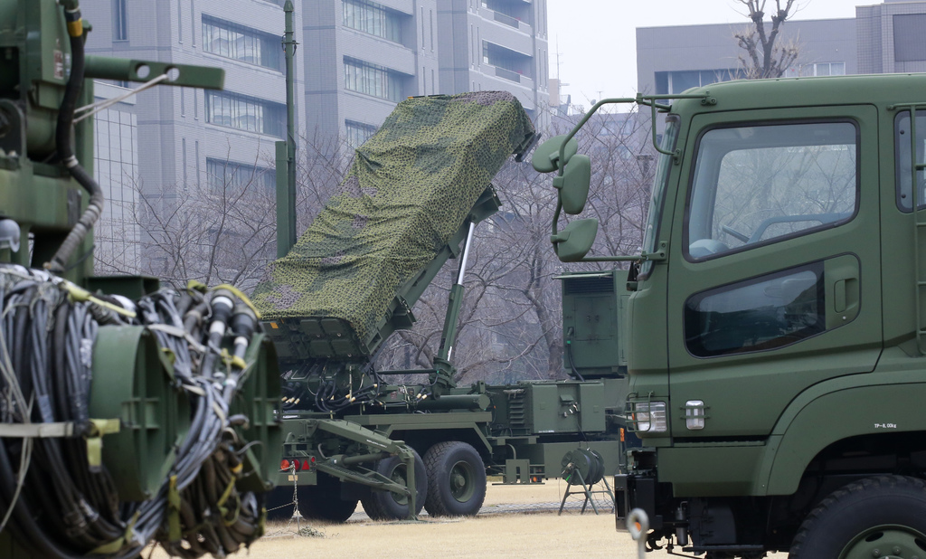 A PAC-3 Patriot missile unit is deployed against the North Korea's missile firing, at the Defense Ministry in Tokyo, Monday, March 6, 2...