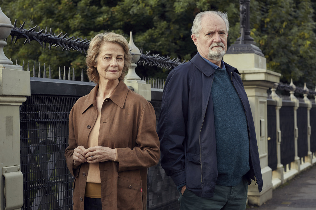 "This image released by CBS Films and Lionsgate shows Charlotte Rampling, left, and Jim Broadbent from, ""The Sense of an Ending,"" a film..."