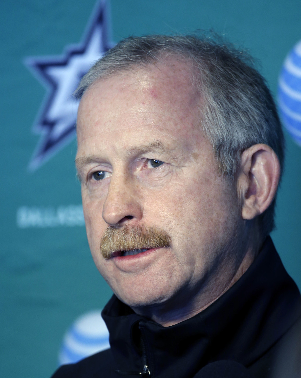 This Sept. 19, 2014 file photo shows Dallas Stars General Manager Jim Nill responding to questions from reporters after a team morning ...