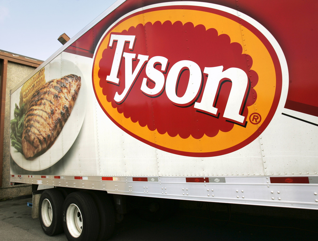 FILE - In this Wednesday, Oct. 28, 2009, file photo, a Tyson Foods, Inc., truck is parked at a food warehouse in Little Rock, Ark. Tyso...