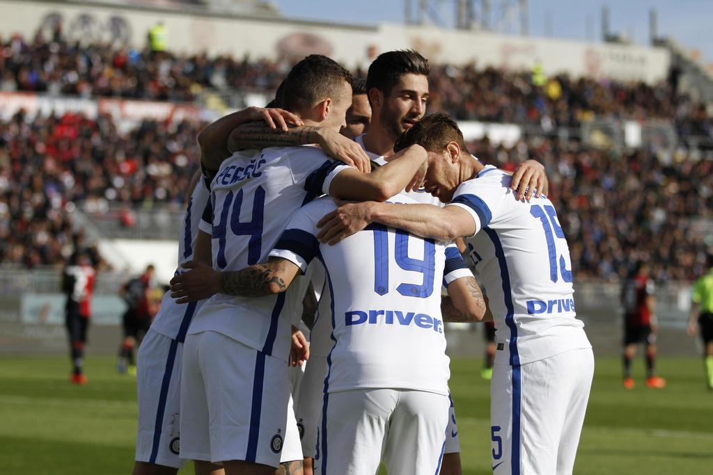 Inter Milan's players celebrate Ivan Perisic's goal during a Serie A soccer match between Inter Milan and Cagliari, at the Sant'Elia st...