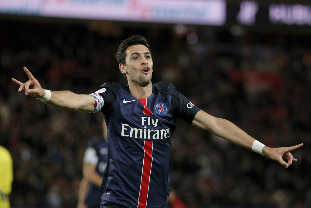 FILE- In this Tuesday, Sept. 22, 2015 file photo, PSG's Javier Pastore celebrates after scoring during the French League One soccer mat...