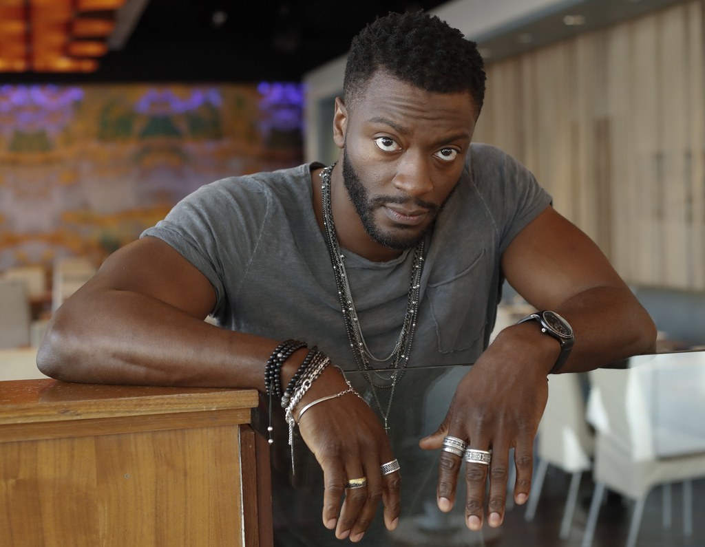 """This Feb. 2, 2017 photo shows Aldis Hodge, a cast member from the TV series, """"Underground,"""" in Atlanta. The second season premieres Mar..."""