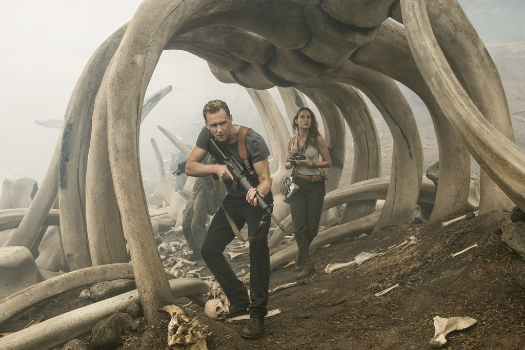 """In this image released by Warner Bros. Pictures, Tom Hiddleston, left, and Brie Larson appear in a scene from, """"Kong: Skull Island."""" (V..."""
