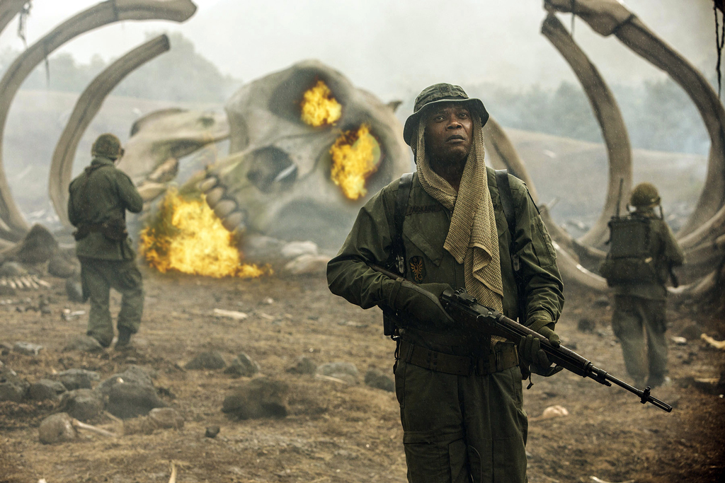 """In this image released by Warner Bros. Pictures, Samuel L. Jackson appears in a scene from, """"Kong: Skull Island."""" (Chuck Zlotnick/Warne..."""