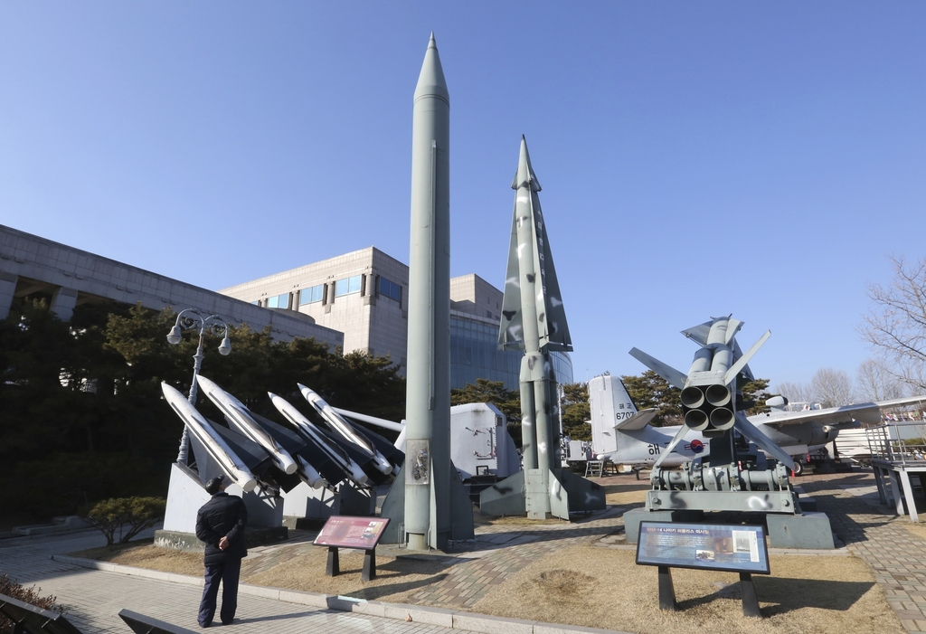 FILE - In this Feb. 2, 2017 file photo, a mock North Korea's Scud-B missile, center left, and South Korean missiles are displayed at Ko...
