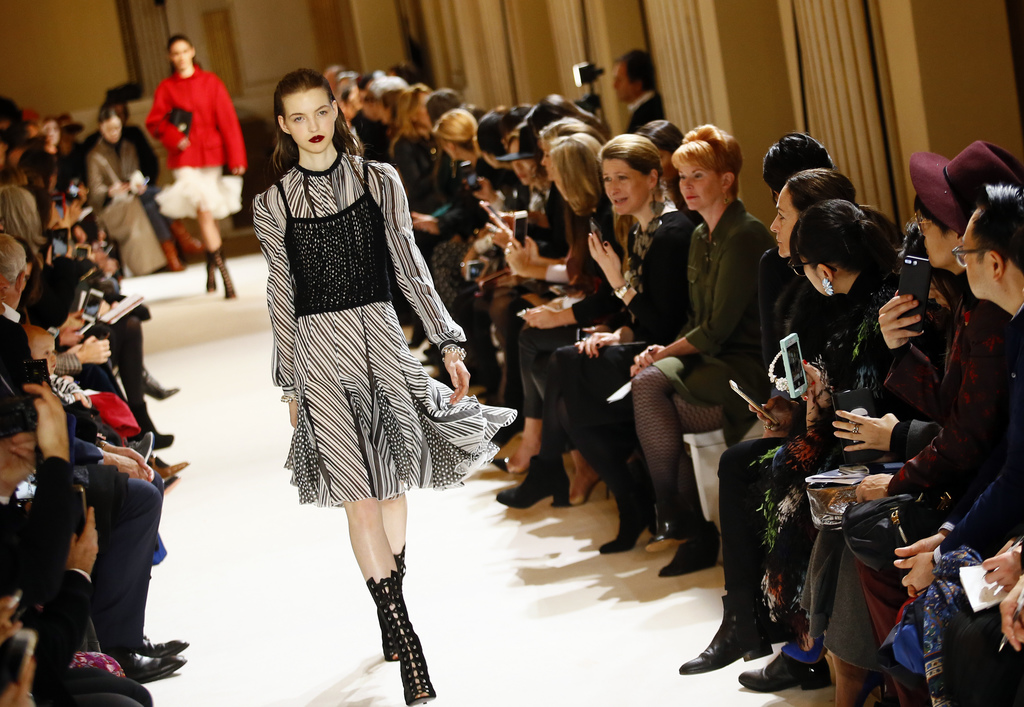 A model wears a creation for Giambattista Valli's Fall-Winter 2017/2018 ready-to-wear fashion collection presented in Paris, Monday Mar...