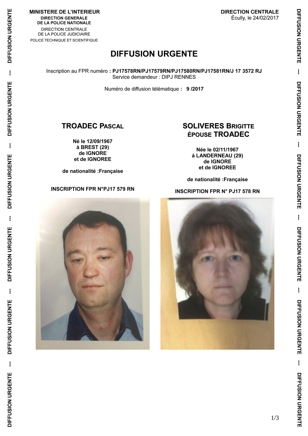 FILE - This handout photo provided by the French Police Nationale and sent to French police authorities on Feb. 24, 2017, shows the por...