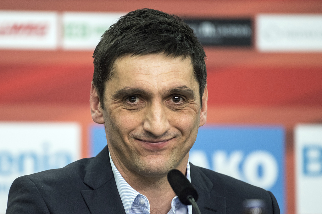 Leverkusen's new interim  coach, Tayfun Korkut  attends a news conference in Leverkusen, Germany, Monday March 6, 2017.  After the club...