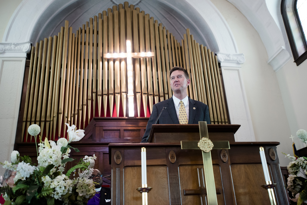 Alabama Secretary of State John Merrill speaks during a service at Brown Chapel African Methodist Episcopal Church in Selma, Ala., Sund...