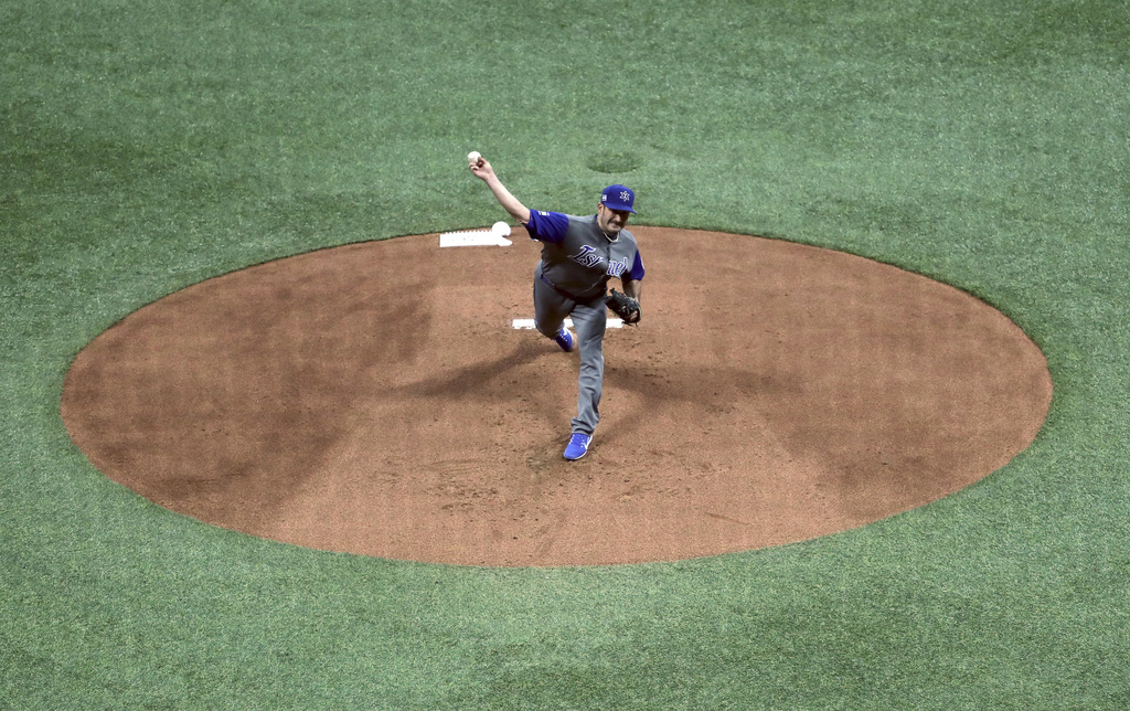 Israel's starting pitcher Jason Marquis throws against South Korea during the first inning of their first round game of the World Baseb...