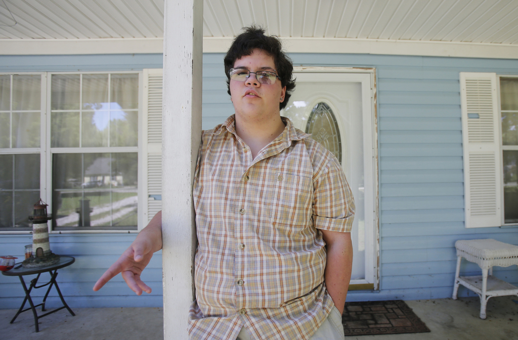 FILE - In this Aug. 22, 2016 file photo, transgender high school student Gavin Grimm poses in Gloucester, Va. The Supreme Court is retu...