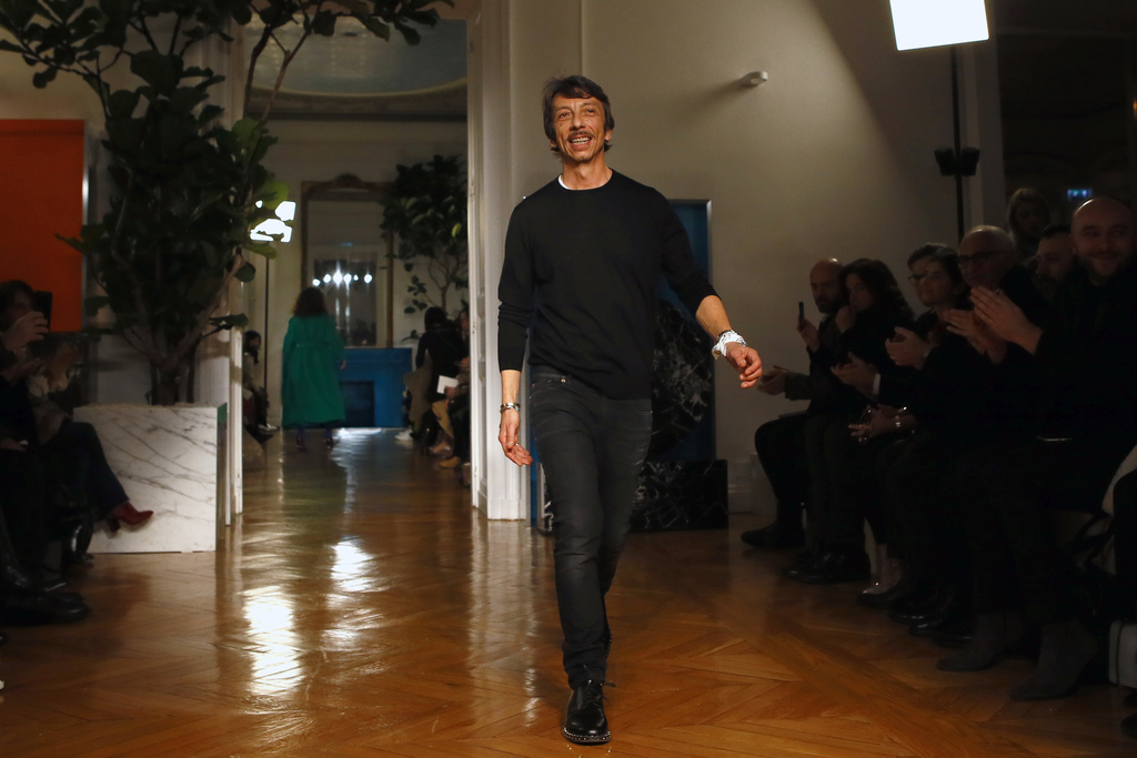 Fashion designer Pierpaolo Piccioli acknowledges applause after Valentino's Fall-Winter 2017/2018 ready-to-wear fashion collection pres...