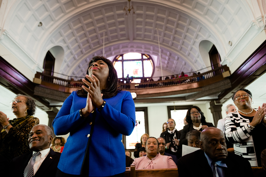 Congresswoman Terri Sewell claps during a service at Brown Chapel African Methodist Episcopal Church in Selma, Ala., Sunday, March 5, 2...