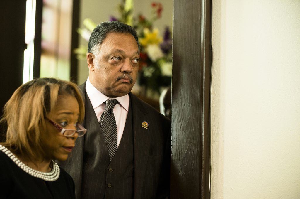The Rev. Jesse Jackson looks on during a service at Brown Chapel African Methodist Episcopal Church in Selma, Ala., Sunday, March 5, 20...