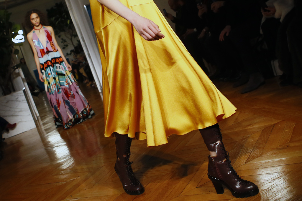 A model wears a creation for Valentino's Fall-Winter 2017/2018 ready-to-wear fashion collection presented Sunday, March 5, 2017 in Pari...