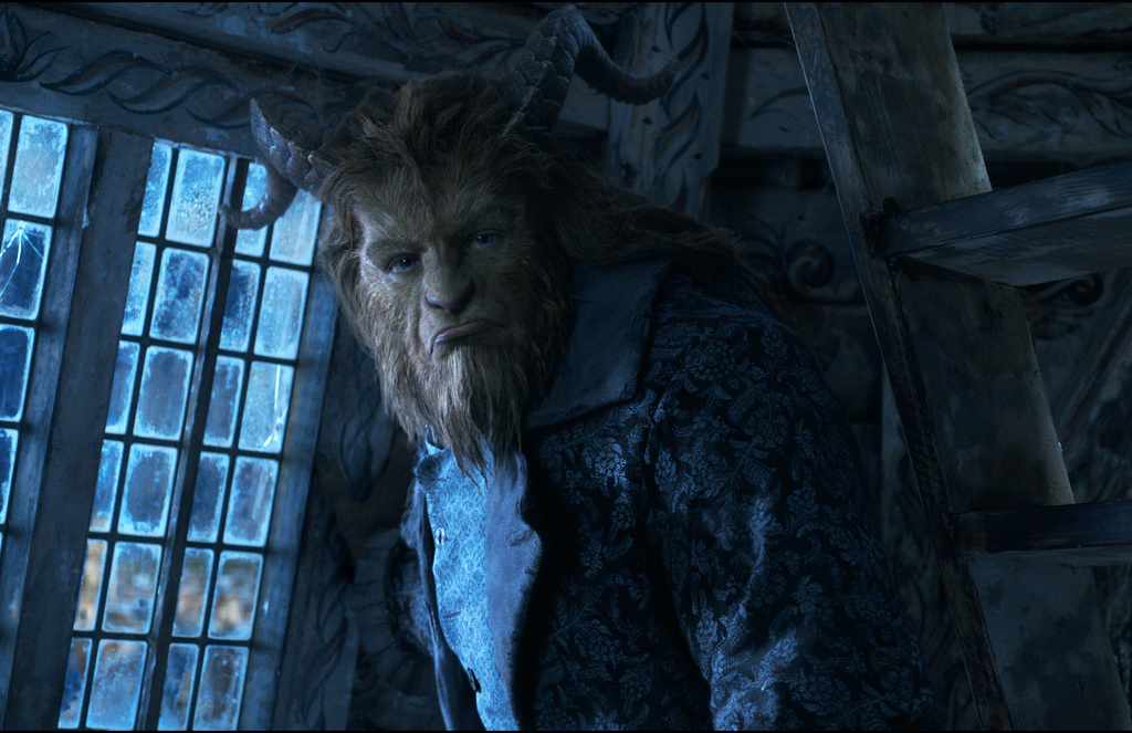 """This image released by Disney shows Dan Stevens as The Beast in a live-action adaptation of the animated classic """"Beauty and the Beast...."""