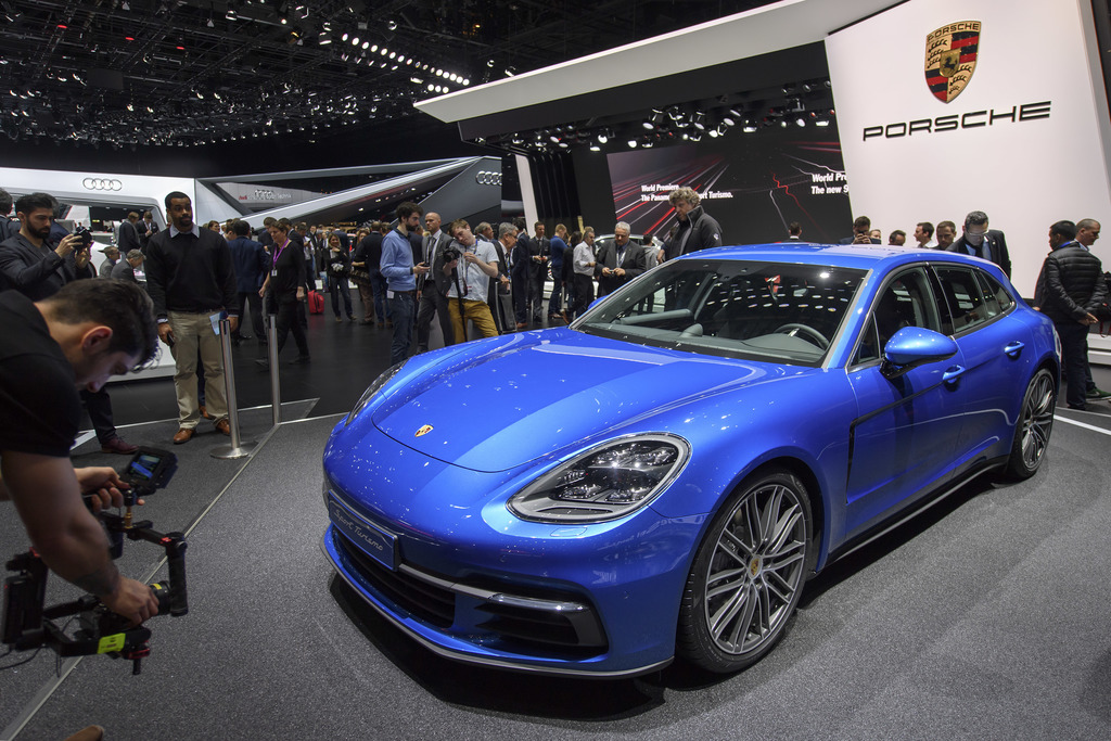 The new Porsche Panamera 4S Diesel Sport Turismo is presented during the press day at the 87th Geneva International Motor Show in Genev...