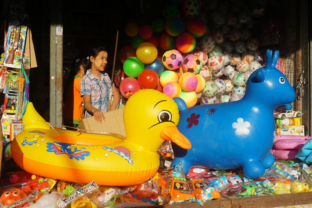 This Jan. 25, 2017 photo, shows Mawlamyine's great central market which offers everything from fish to toys, with many good smuggled in...