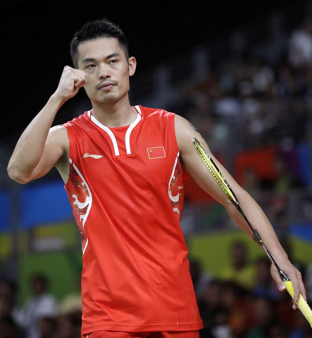 FILE- In this Wednesday, Aug. 17, 2016 file photo, Lin Dan, of China, celebrates after winning a point against Srikanth Kidambi, of Ind...