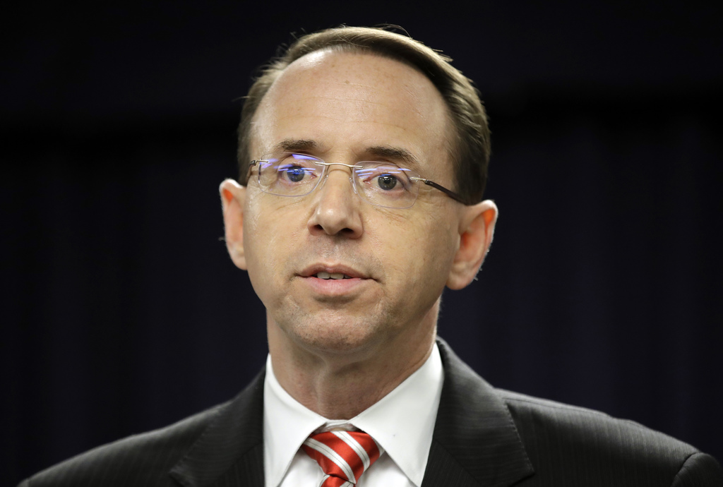 FILE - In this March 1, 2017, file photo, U.S. Attorney for the District of Maryland Rod J. Rosenstein speaks at a news conference in B...