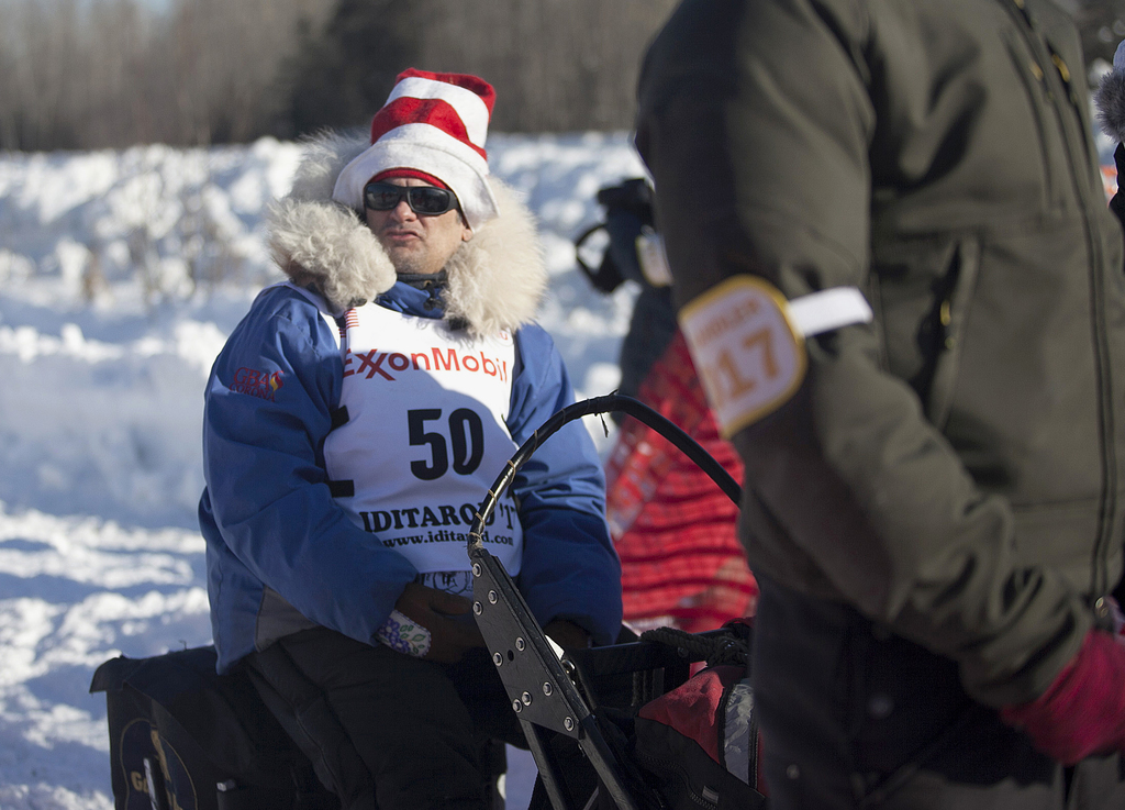 Hugh Neff waits to approach the start line of the 45th Iditarod Trail Sled Dog Race in Fairbanks, Alaska, Monday, March 6, 2017. Neff, ...