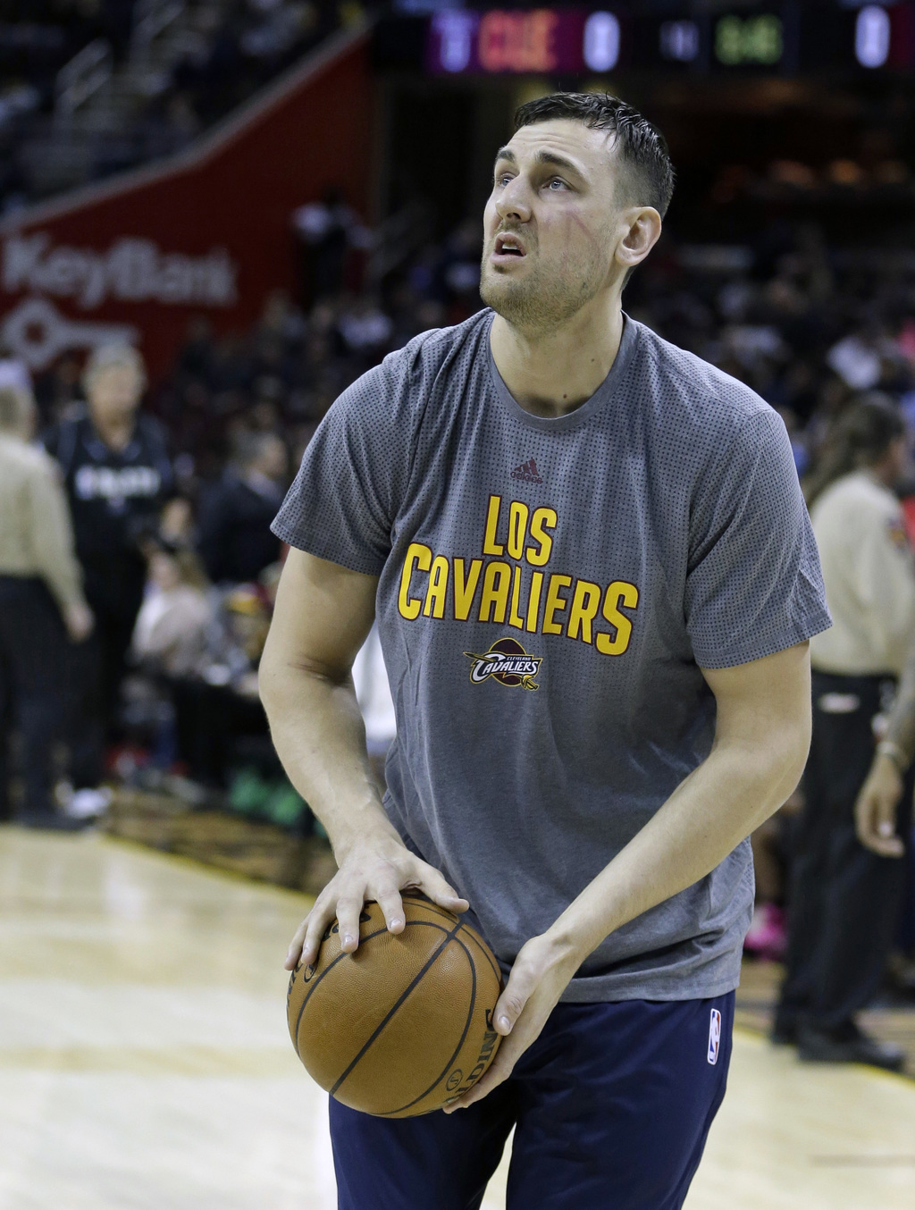 Cleveland Cavaliers' Andrew Bogut warms up before an NBA basketball game between the Miami Heat and the Cleveland Cavaliers, Monday, Ma...