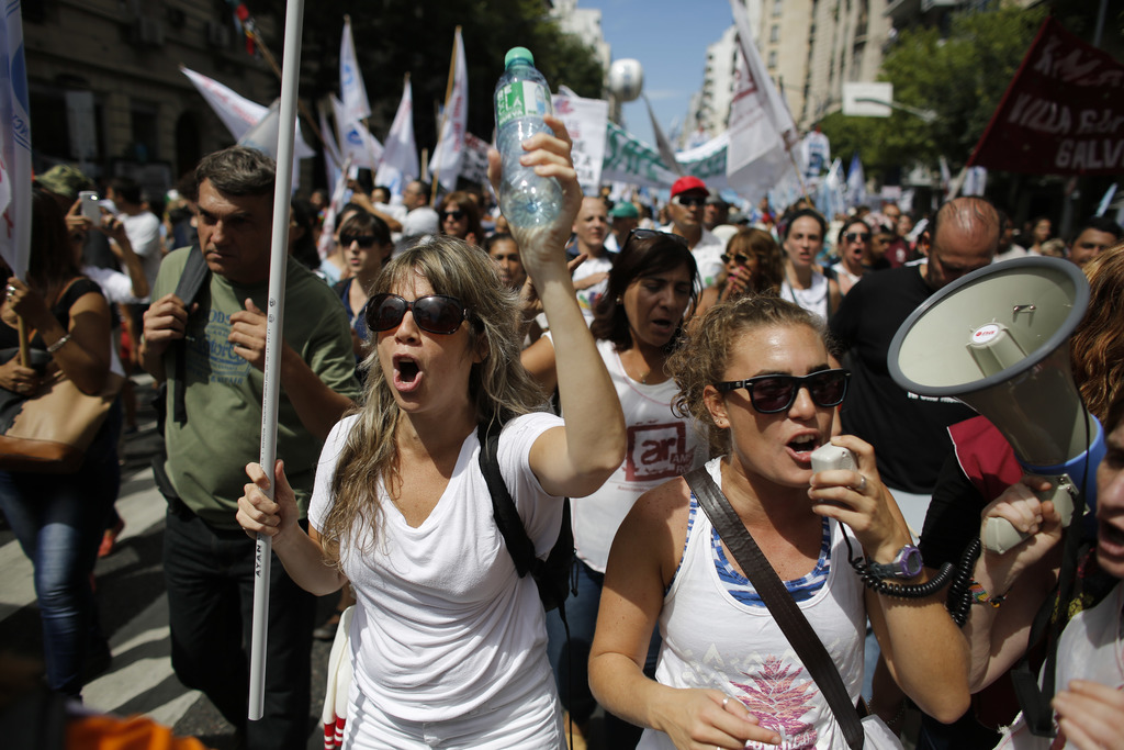 Teachers shout slogans during a protest in Buenos Aires, Argentina, Monday, March 6, 2017. Teachers in a nationwide strike have left mi...