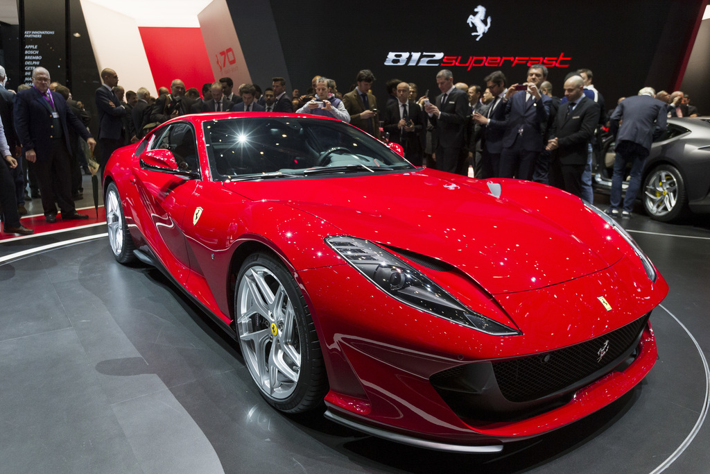 The New Ferrari 812 superfast is presented during the press day at the 87th Geneva International Motor Show in Geneva, Switzerland, Tue...