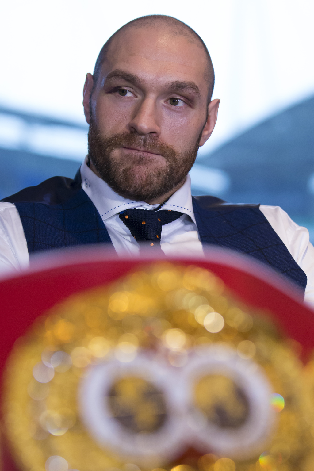 FILE - In this file photo dated Monday, Nov. 30, 2015, newly crowned heavyweight world boxing champion Tyson Fury hosts a media confere...