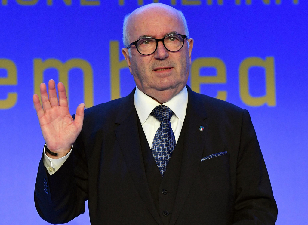 Carlo Tavecchio speaks after being re-elected President of the FIGC, the Italian Soccer Federation, in Rome, Monday, March 6, 2017. (Et...