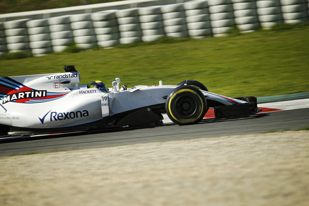 Williams driver Felipe Massa of Brazil steers his car during a Formula One pre-season testing session at the Catalunya racetrack in Mon...
