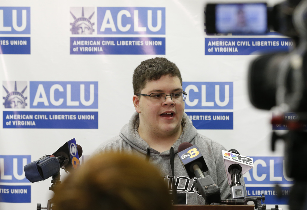 Gloucester County High School senior Gavin Grimm, a transgender student, speaks during a news conference in Richmond, Va., Monday, Marc...