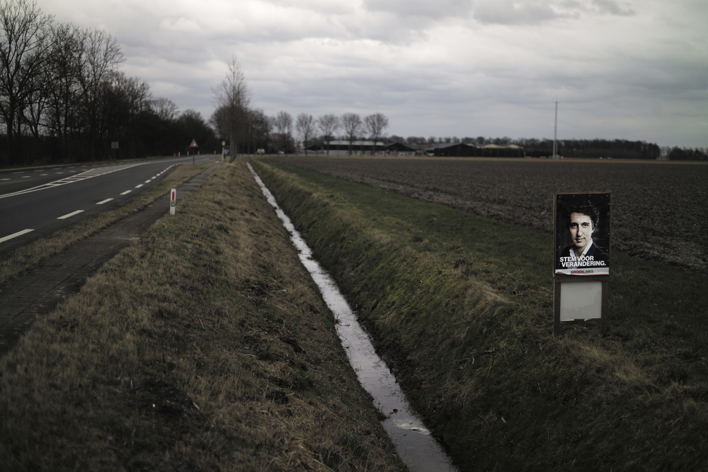 In this Saturday, March 4, 2017 photo, an election poster showing Jesse Klaver, from the GroenLinks party, is displayed in a field in N...
