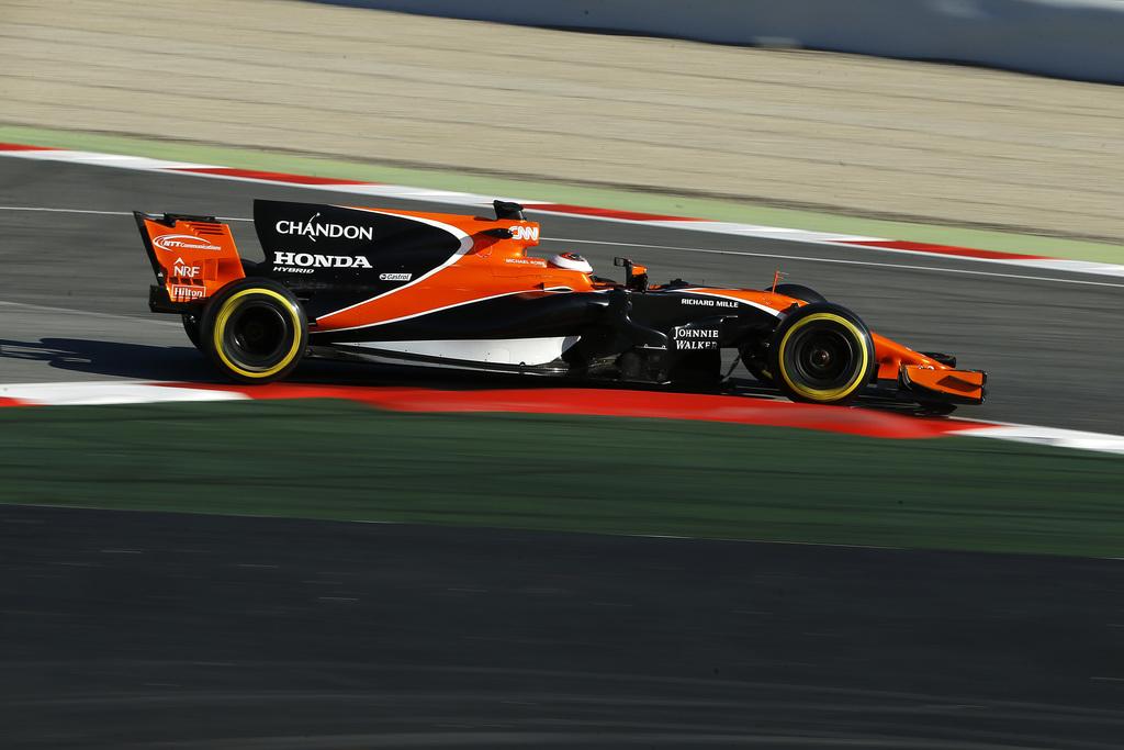McLaren driver Stoffel Vandoorne of Belgium steers his car during a Formula One pre-season testing session at the Catalunya racetrack i...