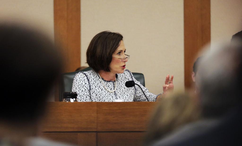Texas Sen. Lois Kolkhorst, R-Brenham, speaks as the Senate State Affairs Committee begin talks about Senate Bill 6 at the Texas Capitol...