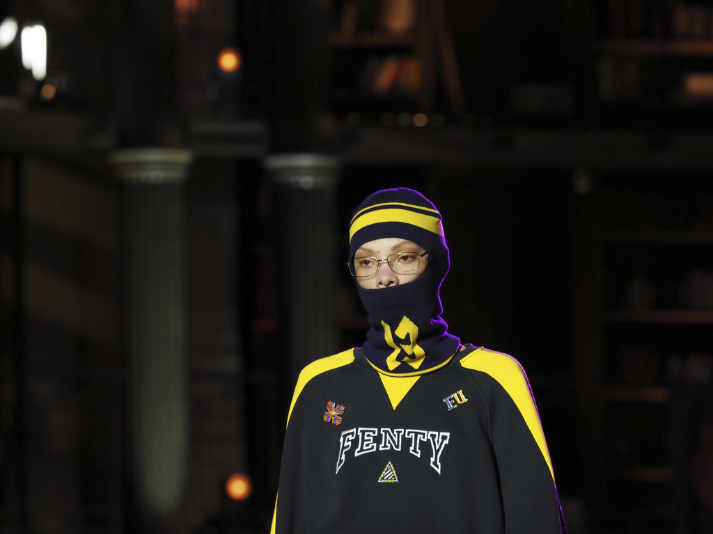 A model wears a creation by fashion designer Rihanna as part of Fenty's Fall-Winter 2017/2018 ready-to-wear collection presented in Par...