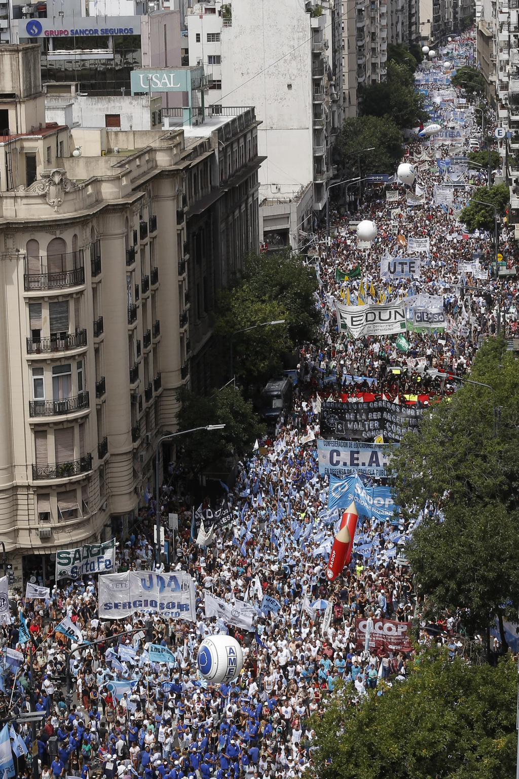 Thousands of teachers march in Buenos Aires, Argentina, Monday, March 6, 2017. Teachers in a nationwide strike have left millions of ch...