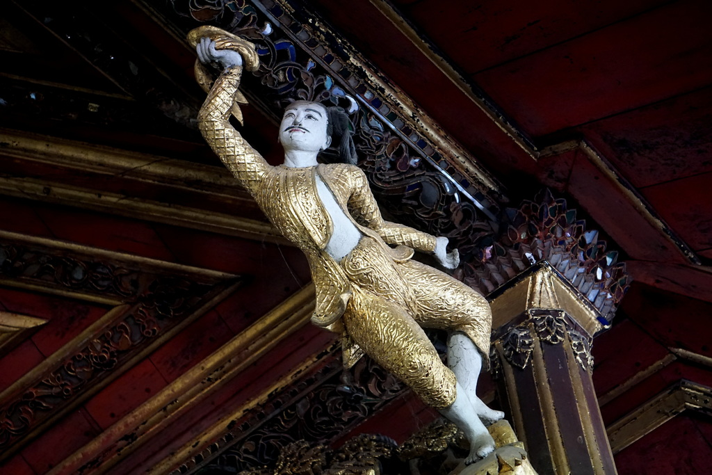 This Jan. 24, 2017 photo, shows one of the exquisite carvings that adorn the palace of Queen Sein Don in Mawlamyine, one of 45 consorts...