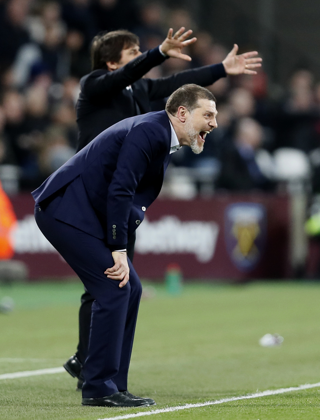 West Ham manager Slaven Bilic reacts as he watches his team during the English Premier League soccer match between West Ham and Chelsea...
