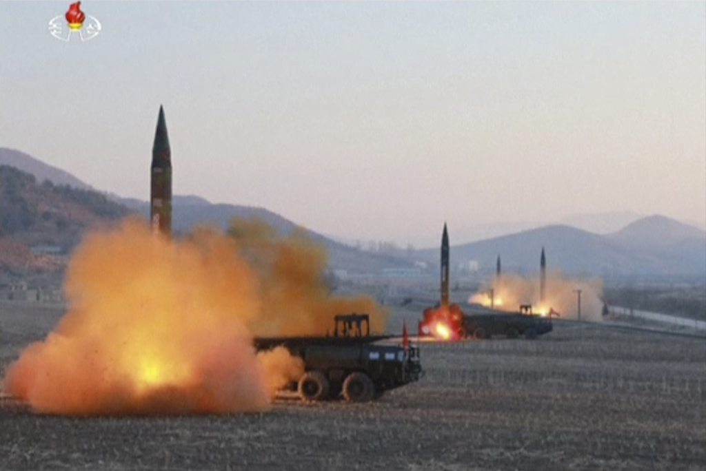 In this image made from video released by KRT on Tuesday, March 7, 2017, North Korea launches four missiles in an undisclosed location ...