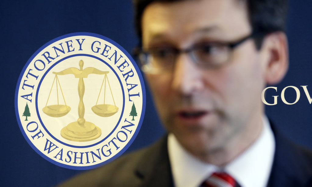 The logo for the Washington State Attorney General's office stands behind as Attorney General Bob Ferguson speaks at a news conference ...