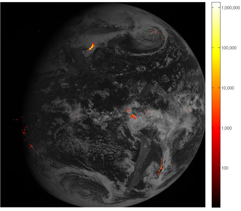 In this mage provided by NOAA shows some of the first images from it's new satellite that maps lightning. A new U.S. satellite is mappi...