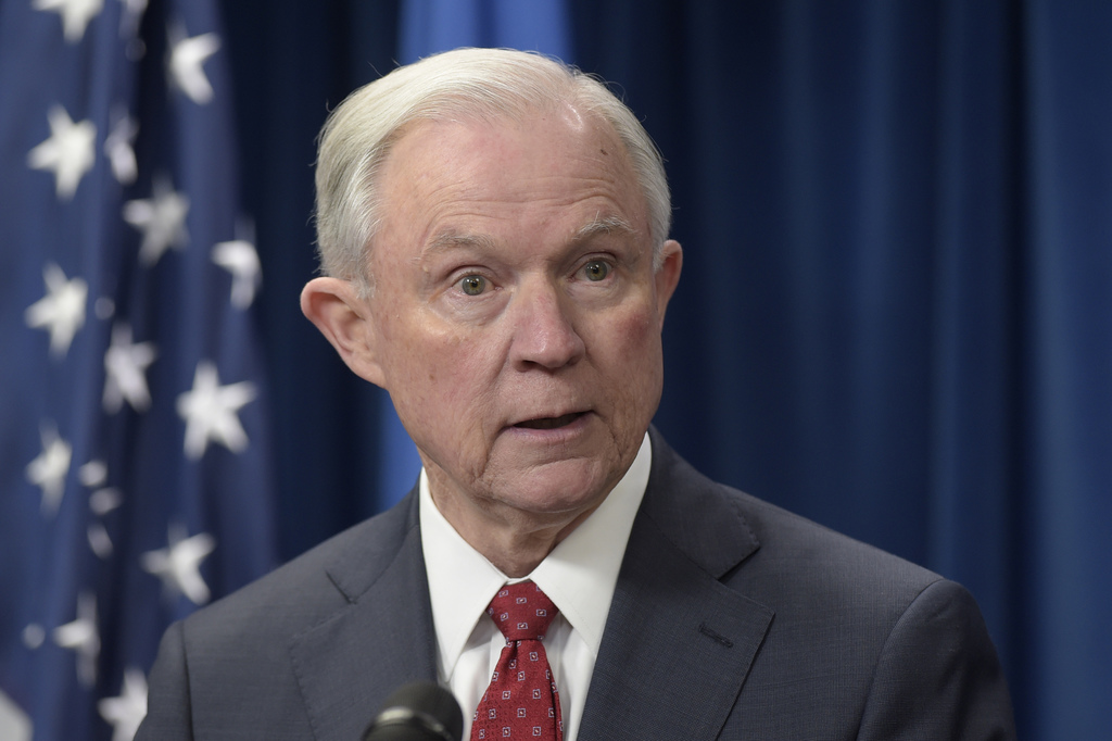 Attorney General Jeff Sessions makes a statement on issues related to visas and travel, Monday, March 6, 2017, at the U.S. Customs and ...